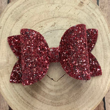 Load image into Gallery viewer, Glitter Bow- CRANBERRY GLASS