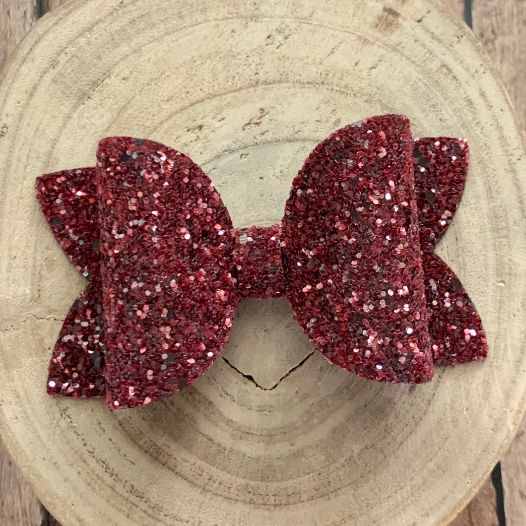 Glitter Bow- CRANBERRY GLASS
