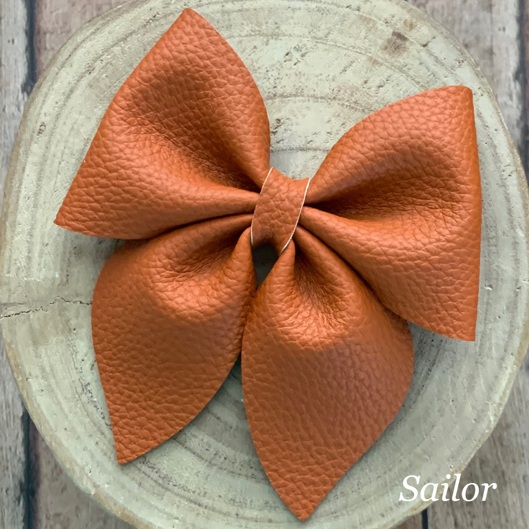 Leather Bow- TAWNY