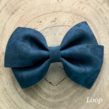 Load image into Gallery viewer, Suede Bow- NAVY LEOPARD