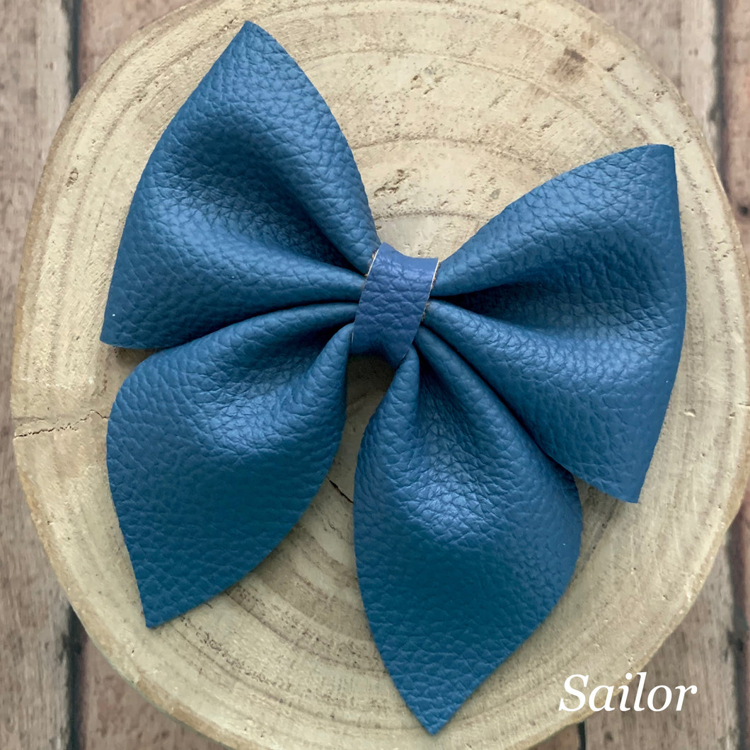 Leather Bow- BLUE