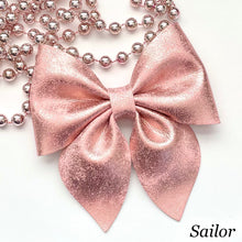 Load image into Gallery viewer, Leather Bow- BLUSH PATINA
