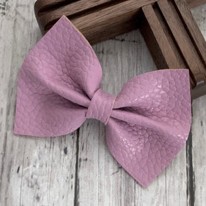 Leather Bow- LILAC