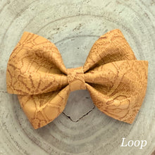 Load image into Gallery viewer, Leather Bow- MUSTARD EMBOSSED