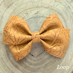 Leather Bow- MUSTARD EMBOSSED