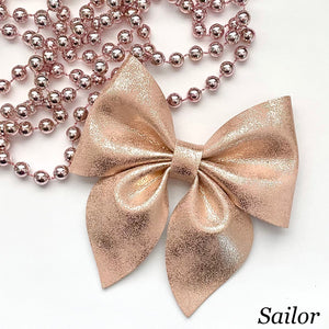 Leather Bow- ROSE GOLD PATINA