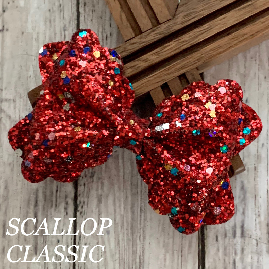 Glitter Bow- RED FUNFETTI