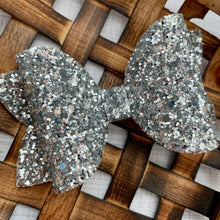 Load image into Gallery viewer, Glitter Bow- SILVER PREMIUM