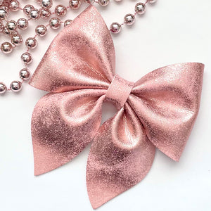 Leather Bow- BLUSH PATINA