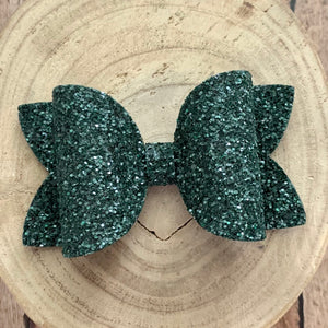 Glitter Bow- EVERGREEN GLASS