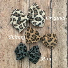 Load image into Gallery viewer, Suede Bow- BLACK LEOPARD