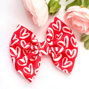 Fabric Bow- RED HEARTS
