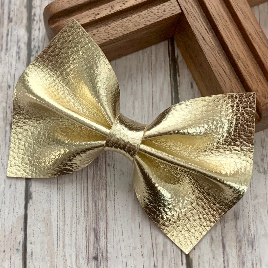 Leather Bow- GOLD