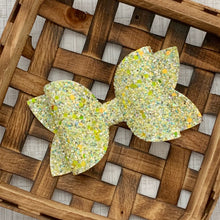 Load image into Gallery viewer, Glitter Bow- LEMON DROP