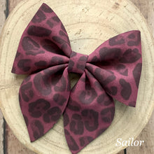 Load image into Gallery viewer, Suede Bow- BURGUNDY LEOPARD