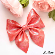 Load image into Gallery viewer, Leather Bow- IRIDESCENT RED