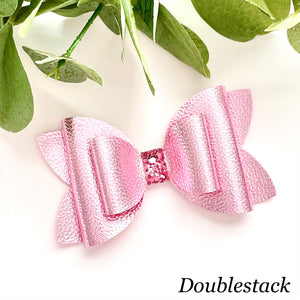 Leather Bow- METALLIC PINK
