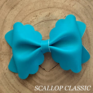 Leather Bow- SMOOTH OLYMPIC BLUE
