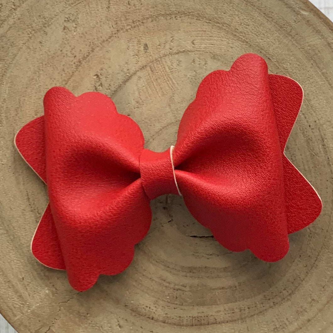 Leather Bow- SMOOTH RED