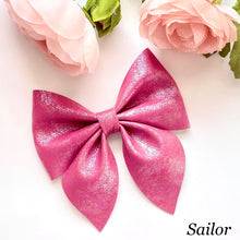 Load image into Gallery viewer, Leather Bow- IRIDESCENT MAGENTA