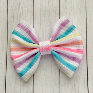 Fabric Bow- SUMMER STRIPES