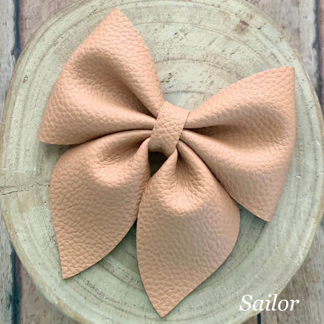 Leather Bow- PEANUT