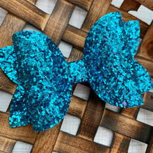 Load image into Gallery viewer, Glitter Bow- CERULEAN PREMIUM