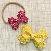 Load image into Gallery viewer, Glitter Bow- FRENCH ROSE