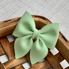 Load image into Gallery viewer, Suede Bow- MINT SPARKLE