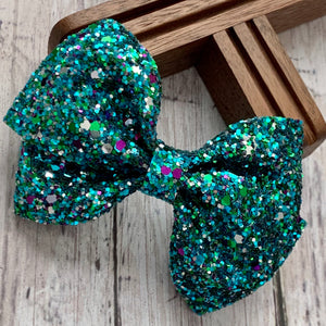 Glitter Bow- PEACOCK