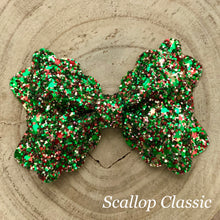 Load image into Gallery viewer, Glitter Bow- MISTLETOE