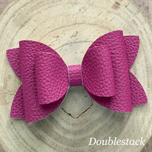 Leather Bow- BERRY