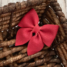 Load image into Gallery viewer, Suede Bow- CRANBERRY SPARKLE