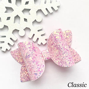 Glitter Bow- OPALESCENT PINK