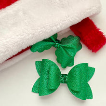 Load image into Gallery viewer, Leather Bow- METALLIC GREEN