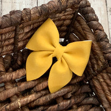 Load image into Gallery viewer, Suede Bow- MUSTARD SPARKLE