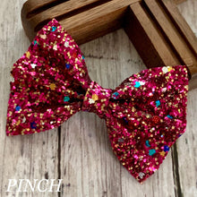 Load image into Gallery viewer, Glitter Bow- PINK FUNFETTI