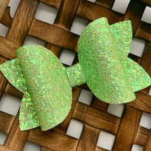 Load image into Gallery viewer, Glitter Bow- GRANNY SMITH