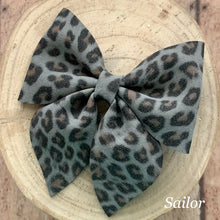 Load image into Gallery viewer, Suede Bow- CHARCOAL LEOPARD