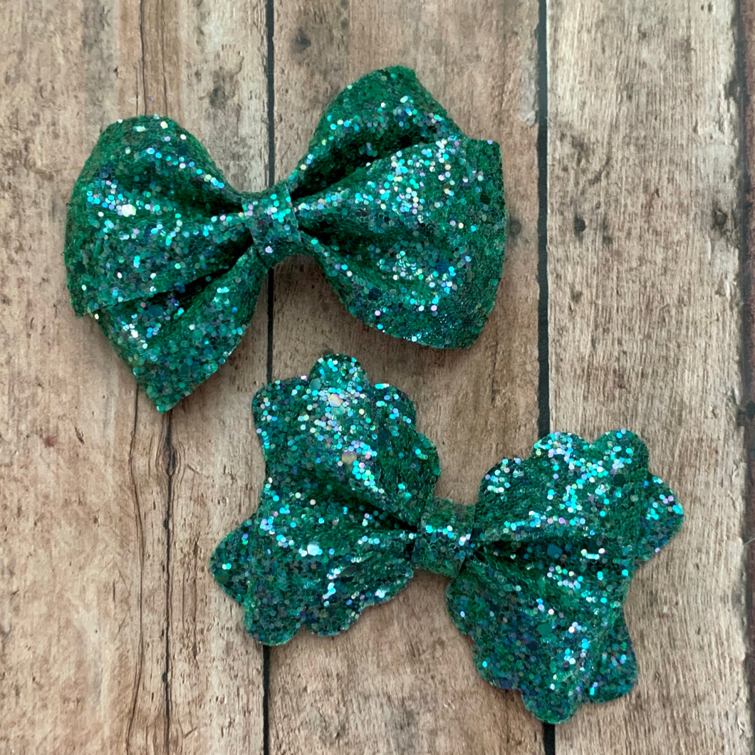 Glitter Bow- GREEN SHINE