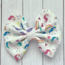 Load image into Gallery viewer, Fabric Bow- DANCING UNICORNS
