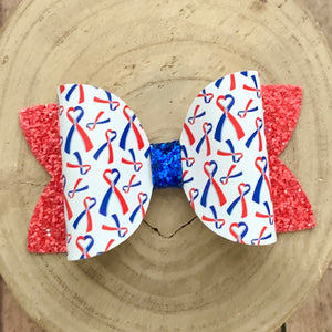 Leather Print- RED AND BLUE RIBBON