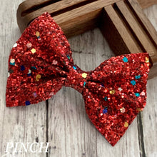 Load image into Gallery viewer, Glitter Bow- RED FUNFETTI