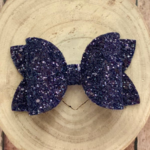 Glitter Bow- BLACKBERRY GLASS