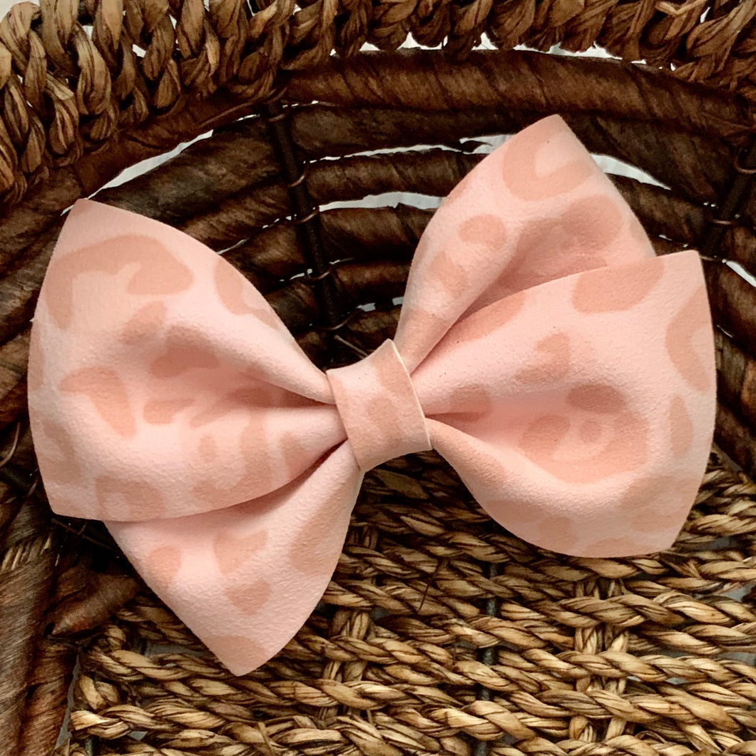 Suede Bow- PINK LEOPARD