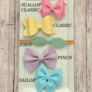 Leather Bow- LAVENDER