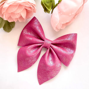 Leather Bow- IRIDESCENT MAGENTA