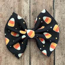 Load image into Gallery viewer, Fabric Bow- CANDY CORN