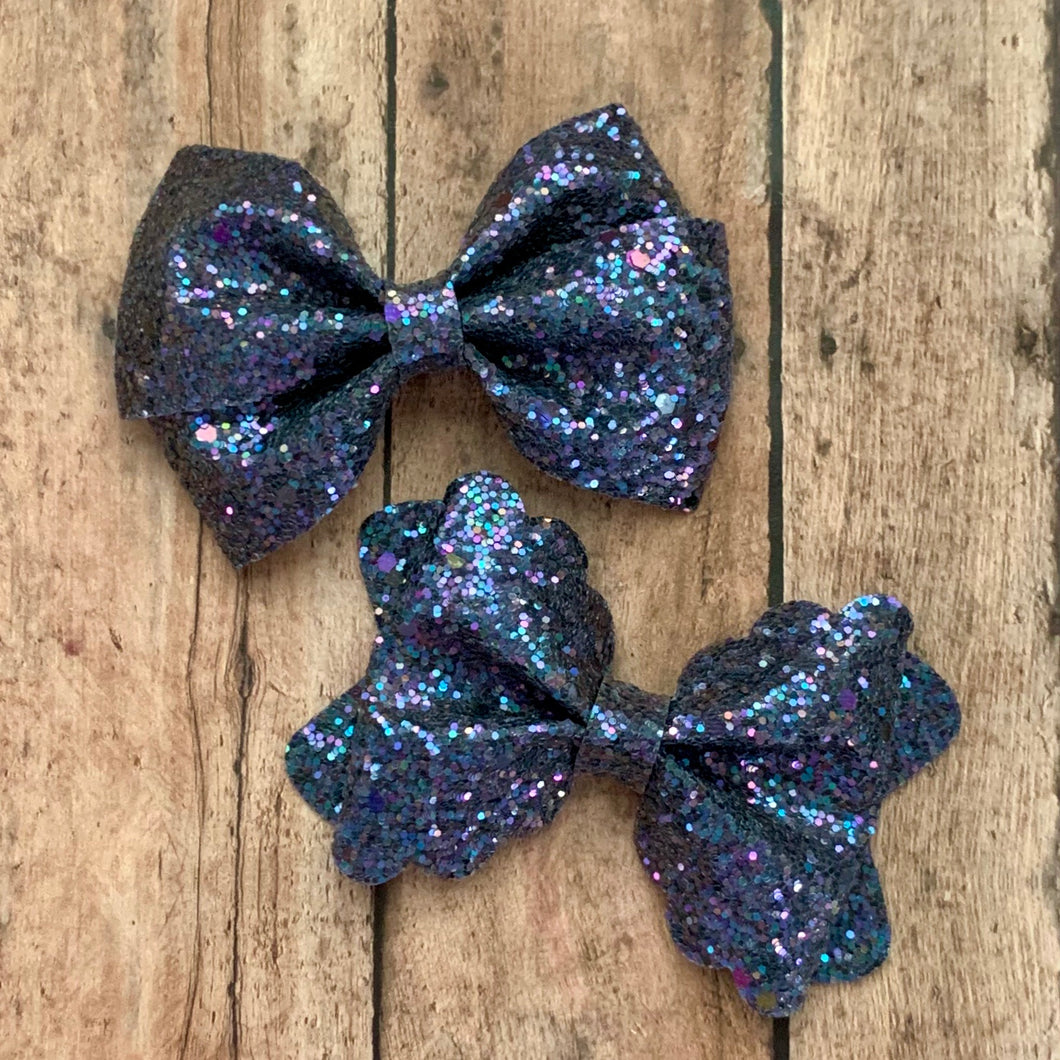 Glitter Bow- NAVY SHINE