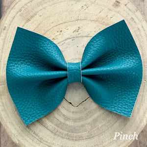 Leather Bow- TEAL